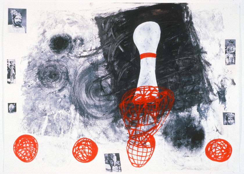 Gareth Sansom Pin, 1989; acrylic ink and collage on paper; 56 x 76 cm; enquire