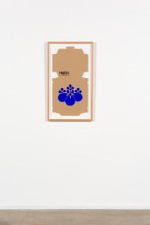 installation view; Claire Healy and Sean Cordeiro Gioielli Lucenti, The Pizza Effect, 2020; pizza box, gouache acrylic; 91 x 52.5 cm; enquire