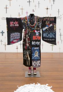 Nell Let There Be Robe (detail), 2012; Zen robe, T-shirts, beads, badges, mannequin, socks, Converse All-Stars, guitar picks, paintbrushes, drumsticks, scissors, pencils, screwdrivers, chopsticks; Dimensions variable; enquire