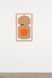 installation view; Claire Healy and Sean Cordeiro Mille Crisantemi Chiari, The Pizza Effect, 2020; pizza box, gouache acrylic; 91 x 52.5 cm; enquire