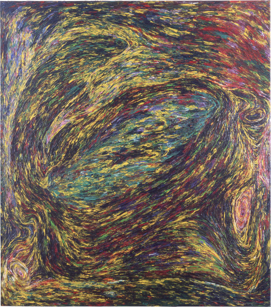 Dale Frank The caves to fear. Portrait with the long chin, 1983; acrylic on canvas; 200 x 180 cm; enquire
