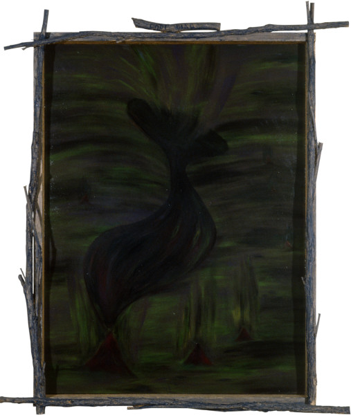Dale Frank Being Just a Liver the Virgo (Portrait), 1982; acrylic and impregnated varnishes on canvas; 130 x 97 cm; enquire