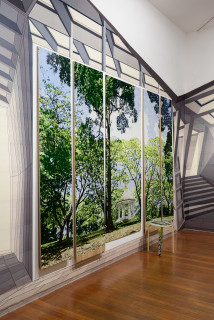 installation view; Gary Carsley D.120 Botanical Gardens Singapore, 2019-20; C-type print, dibond with split battens, IKEA cupboard, chair and stool; overall dimensions as assembled: 236.4 x 60 x 100 cm; enquire