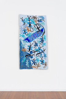 installation view; Dhambit Munuŋgurr My grandfather and the butterflies, 2020; 3361-20; earth pigments and acrylic on bark; 177 x 90 cm; enquire