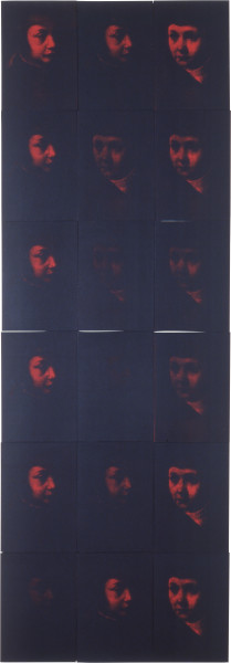Lindy Lee Virtues in the Process of Becoming, 1990; photocopy and acrylic on stonehenge paper; 232 x 80.5 cm; enquire