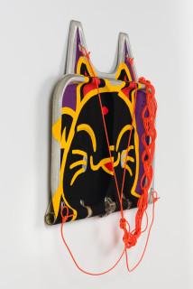 Claire Healy and Sean Cordeiro Manenki Neko (detail), 2020; Iroquois aircraft panel, acrylic gouache, polyester cord; 70 x 85 x 7 cm; enquire