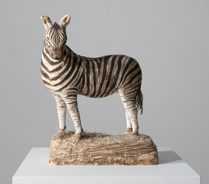 Linda Marrinon Feeding Zebra, 2015; painted plaster; 36 x 30 x 13 cm; enquire
