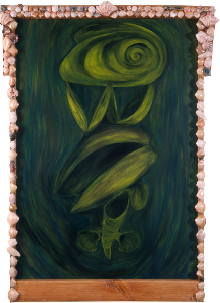 Dale Frank Portrait with the Hidden Snake and Tailor Marks, 1982; acrylic and impregnated varnishes on canvas; 90 x 120 cm; enquire