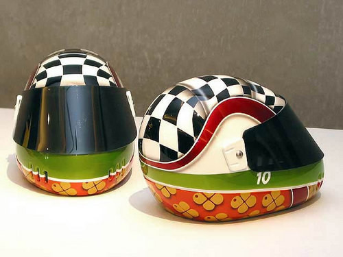 Patricia Piccinini Team WAF (Speedway 10, Speedway 14), 2003; from the series Team WAF (Precautions); Fibreglass, PET and automotive paint; 32 x 28 x 32 cm; enquire