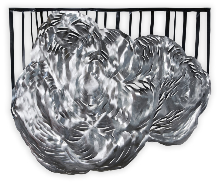 Caroline Rothwell Composition 1, 2014; aluminum leaf, UV-stable structural PVC; 206 x 242 x 10 cm; enquire