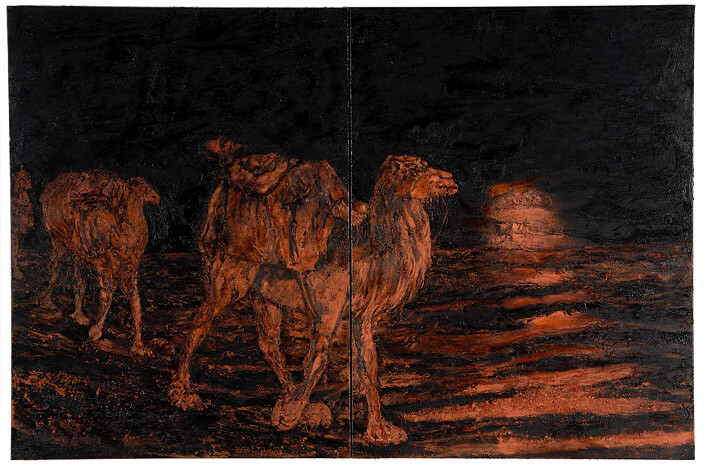 Mandy Martin Wanderers in the desert of the real; E.C. Warburton emerging from the Great Sandy Desert, after engraving, 2008; Ochre, pigment, and oil on linen; diptych, overall 180 x 270 cm; enquire