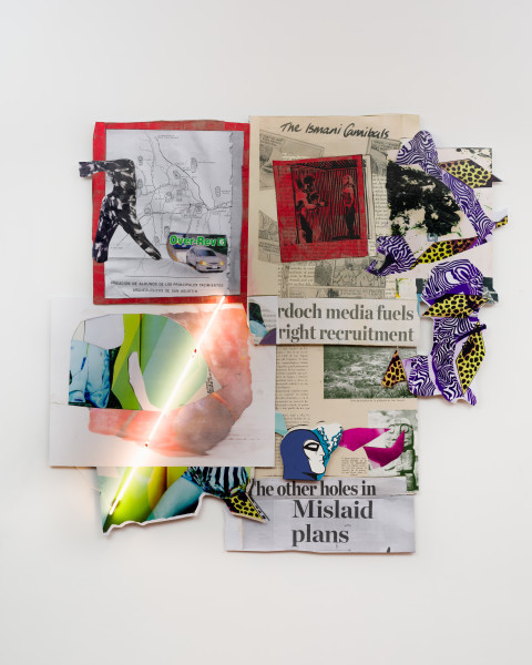 Brook Andrew This year, mislaid plans..., 2020; screen print, photoprint, digital print, textile, paper and neon; 287.5 x 297 x 10 cm; enquire