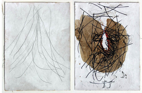 Newell Harry Untitled, 2006; gesso, pencil, permanent mark and oil stick on 2 sheets of ironed Fabriano paper; 38 x 56 cm; enquire