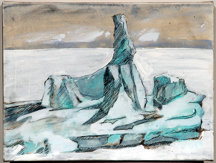 Mandy Martin Epic Fatality; Iceberg off Dunedin New Zealand 2, 2007; Ochre, pigment and acrylic on arches paper; 30 x 40 cm; enquire