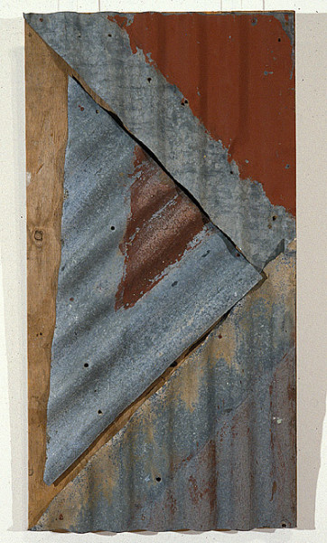 Rosalie Gascoigne Rose Red City #2, 1992; corrugated iron on wood; 100 x 52 cm; enquire
