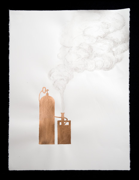 Caroline Rothwell Cloud seeding pump, 2014; Copper leaf, vehicle exhaust emission, acrylic binder on Arches hot pressed archival paper; 76 x 57cm (paper), 80.5 x 61.5cm (framed); enquire