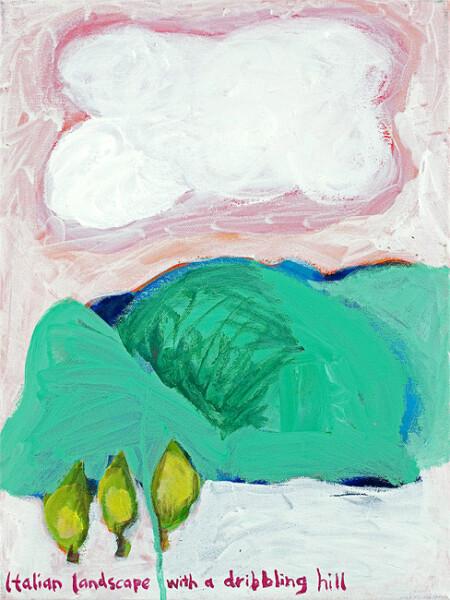 Angela Brennan Italian landscape with a dribbling hill , 2009; oil on linen; 40 x 30.5 cm; enquire