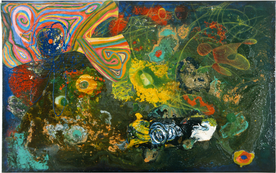 Dale Frank The Happiness Painting, 1986; acrylic & mixed media on canvas; 75 x 120 cm; enquire