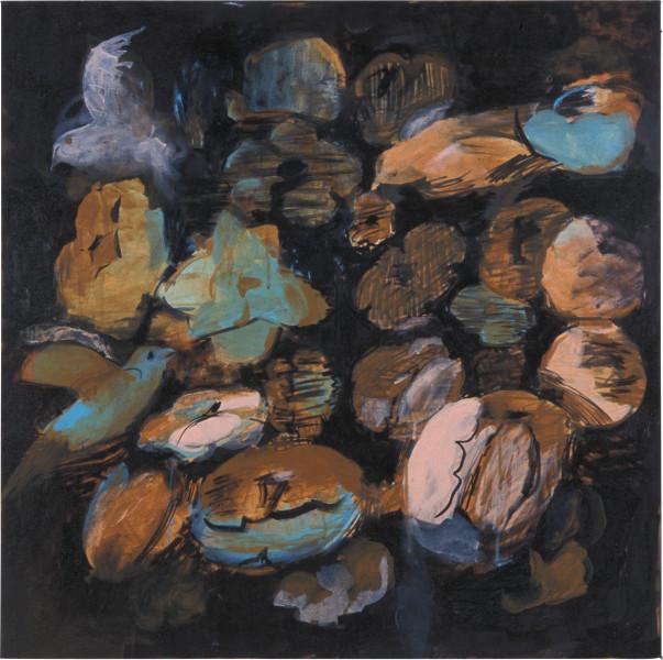 Tony Clark Flowerpiece with Tulip and Birds, 2003; acrylic on canvas; 91.5 x 91.5 cm; enquire