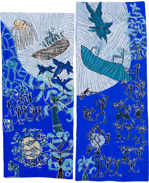 Dhambit Munuŋgurr Welcoming the Refugees / Scott Morrison and the Treasurer, 2021; 2812-21; 1919-21; earth pigments and acrylic on bark; two panels: 241 x 108 cm; 260 x 102 cm; enquire