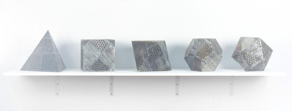 Fiona Hall Platonic sour, 1994; Steel graters, plastic, lemon; 5 pieces each approx. 24 x 24 x 24 cm; enquire