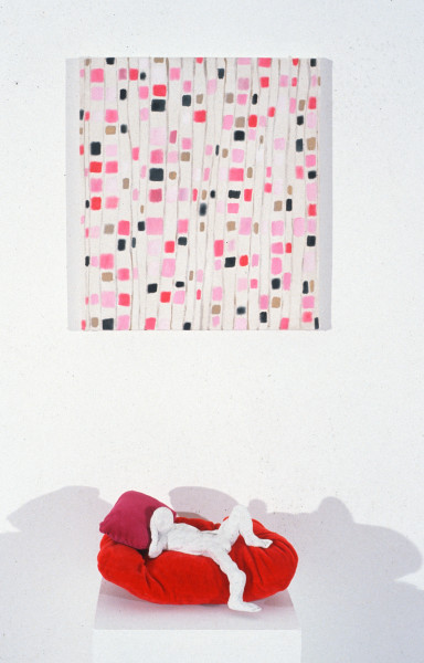 Angela Brennan Stepping into the same river twice and Man on red couch, 1994; oil on canvas, clay and velvet; 45 x 40cm and 15 x 32 x 20cm; enquire