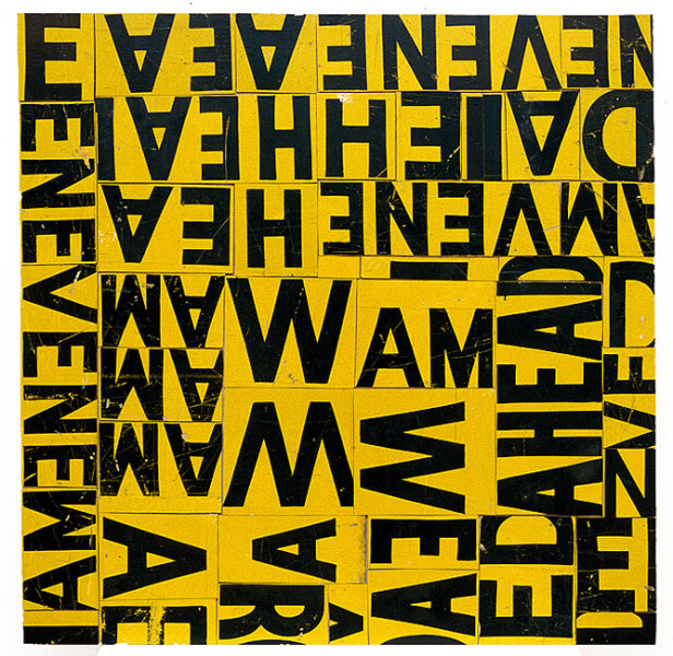 Rosalie Gascoigne Traffic Snarl, 1999; sawn retro-reflective road signs; 122 x 121 cm; enquire