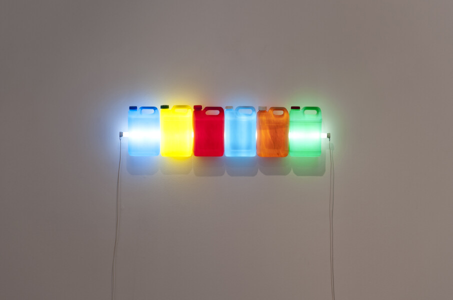 Bill Culbert Strait, Beige with Colour, 2014; fluorescent light, electrical cords, recycled plastic bottles; 39 x 120 x 13 cm; enquire