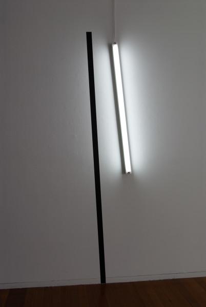 Bill Culbert 2-stroke (black and light), 2006; vinyl and fluorescent lights; 240 x 50 x 8 cm; enquire