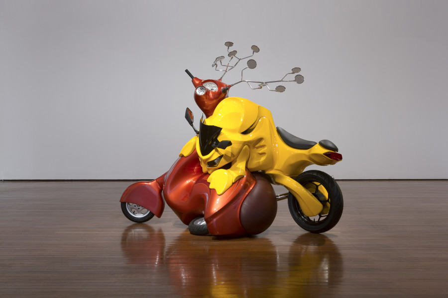Patricia Piccinini The Struggle, 2017; Fibreglass, automotive paint, leather, steel, cycle parts; 200 x 240 x 120 cm; Edition of 3 + AP 1; enquire