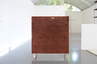 Installation view; Hany Armanious Interface, 2011; cast pigmented polyurethane resin, pewter; 136 x 120 x 15 cm; enquire