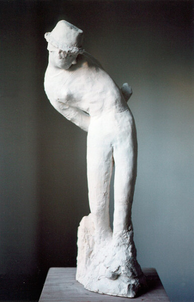 Linda Marrinon Woman with Trilby, 2006; plaster; 70 x 25 x 20 cm; enquire