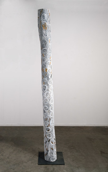 Nyapanyapa Yunupingu 28. Untitled, 2013; 4456R; natural earth pigments on hollow log; 229 x 20 x 20 cm; enquire