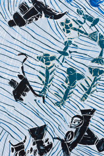 Dhambit Munuŋgurr Munggurrawuy fights the Bulldozer (detail), 2020; 4291-20; earth pigments and acrylic on bark; 190 x 81 cm; enquire