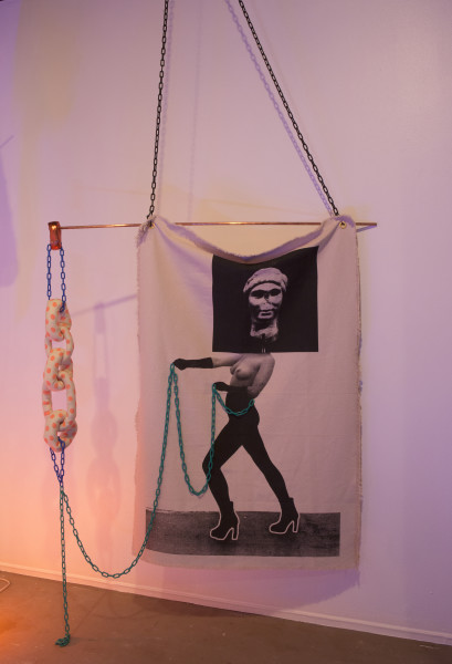 Sarah  Contos Pull, 2014; Screenprint on cotton, copper, plastic chain, metal hooks, fabric and poly fil ; Enquire
