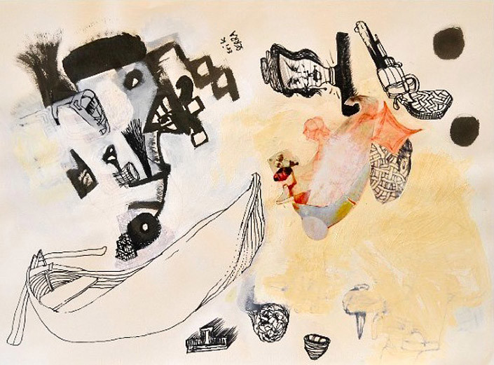 Gareth Sansom Boat with revolver, 1999; Ink, acrylic and collage on paper; 69 x 86 cm; Paper size: 56 x 75; enquire