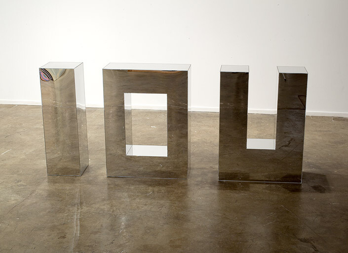 Mikala Dwyer IOU, 2009; mirror acrylic; 80 x 180 x 30 cm; enquire