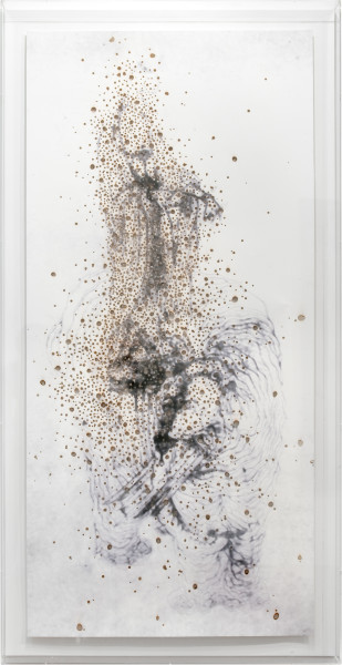 Lindy Lee Bubhi and the Dark Star, 2010; Inkjet print and fire on paper; 172 x 111.5 x 10 cm (framed); enquire