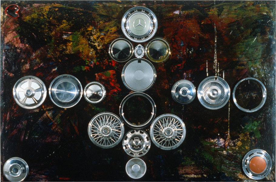 Dale Frank Art Nazis Must Die (Self Portrait), 1989; chrome rings & hubcaps on canvas with resin; 200 x 300 cm; enquire