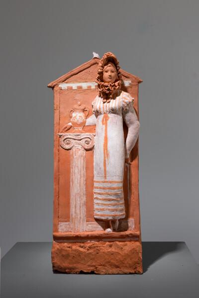 Linda Marrinon Remembering Exekias, 2018; terracotta; 42 x 17 x 9 cm; enquire