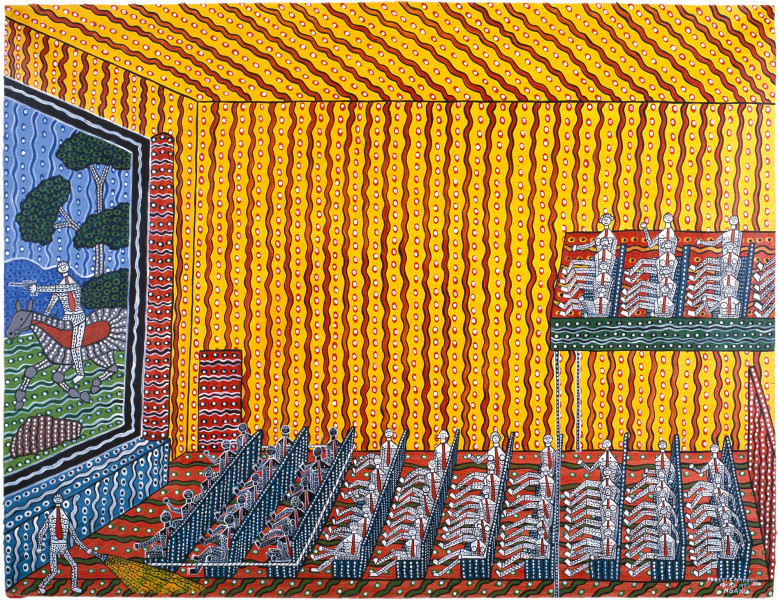 Robert Campbell Jnr Roped Off at the Picture Show II, 1987; acrylic on canvas; 91 x 120 cm; enquire
