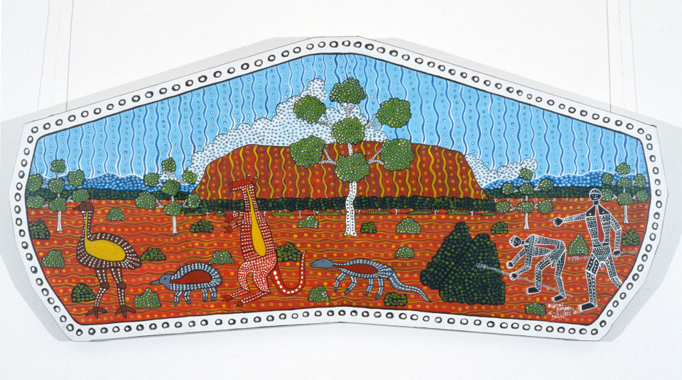 Robert Campbell Jnr Hunting For Food at Uluru, 1989; acrylic on shaped canvas; 80 x 172 cm; enquire