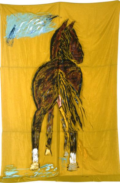 Jenny Watson Trans-Avant-Garde Horse (Pissing), 1983; oil on fabric; 320 x 183 cm; enquire