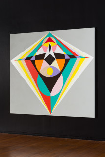 installation view; Mikala Dwyer 1, 2021; acrylic on canvas; 198.5 x 229 cm; enquire