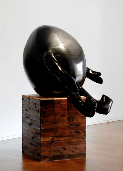 TV Moore Untitled, 2006; black PVC, black thread, high density sponge, treated wood; sculpture: 140 x 150 x 120cm; plinth: 96 x 78 x 74cm; enquire
