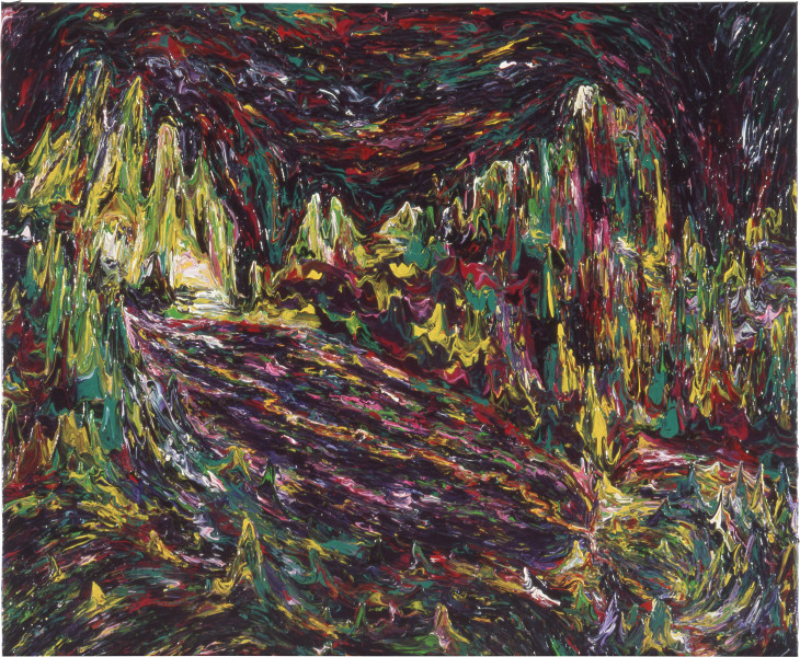 Dale Frank An aerial view of the hidden valley in the Dentata Mountains, 1984; acrylic on canvas; 100 x 120 cm; enquire