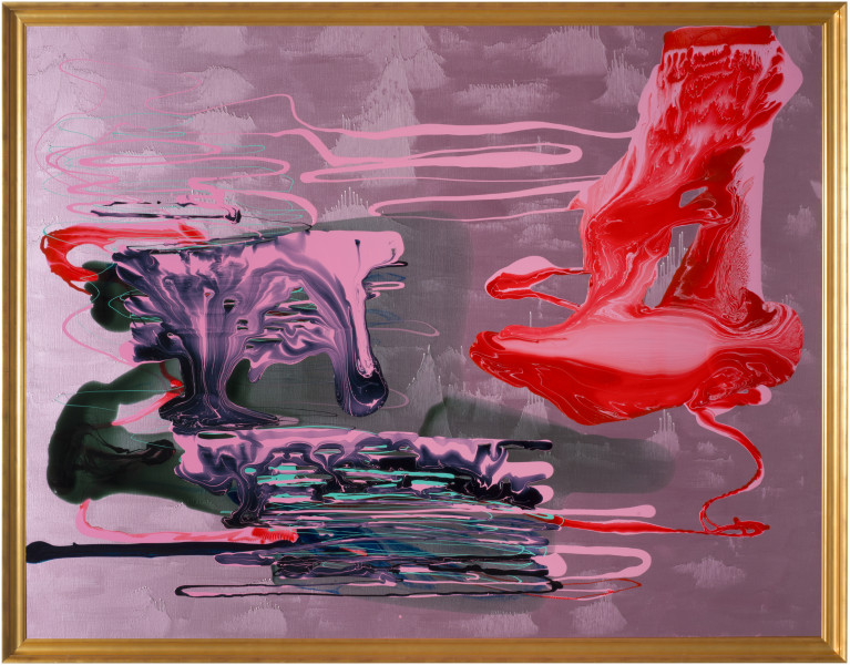 Dale Frank Traditional Chinese Landscape explaining why they pathologically hate Abstract Art, 2013; varnish on canvas; 214 x 274 cm; enquire
