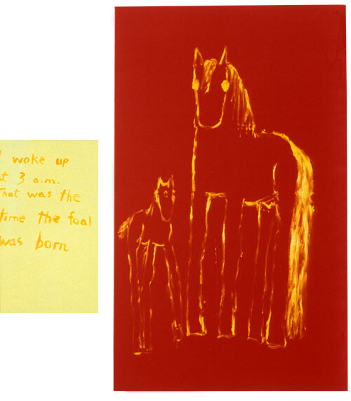 Jenny Watson Mare + Foal + Text Panel, 1993; Oil on chinese velvet & oil and acrylic on stretcher; 167.5 x 102cm; 76 x 51cm; enquire