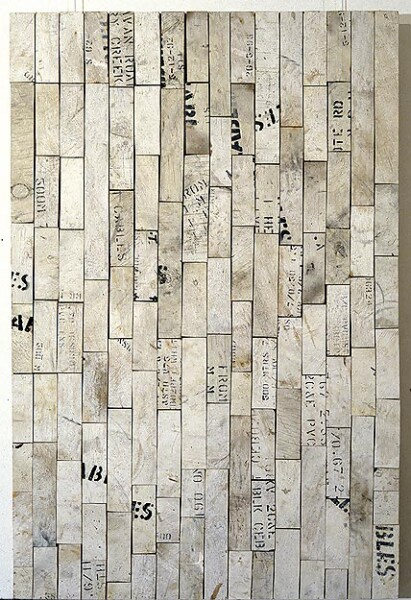 Rosalie Gascoigne Witness, 1994; wood on craftboard; 80.5 x 122 cm; enquire