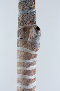 Nyapanyapa Yunupingu untitled, 2018; 1591-18; natural earth pigments on hollow log; 249 x 18 x 18 cm; enquire